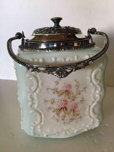Stunning Vintage Victorian Biscuit Cracker Cookie Jar Wavecrest w/ Fancy Handle