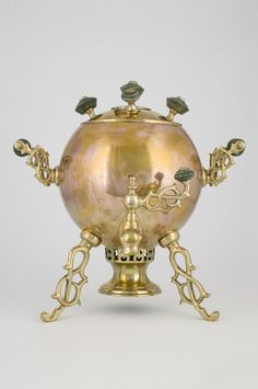 "Samovar-sphere ""Spider""  The body is in the shape of a sphere with a smooth wall. A cover is smooth, dome-shaped. Russia start of XX century."
