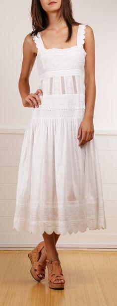 Catherine Malandrino white eyelet maxi dress
