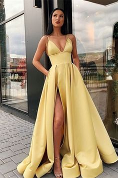 A Line Spaghetti Straps V Neck Yellow Prom Dresses with Pockets High Slit Satin . - - A Line Spaghetti Straps V Neck Yellow Prom Dresses with Pockets High Slit Satin Formal Dress Source by newtoptrends Prom Dresses With Pockets, Pretty Prom Dresses, V Neck Prom Dresses, Elegant Dresses, Dresses Dresses, Matric Dance Dresses, Wedding Dresses, Satin Dresses, Prom Dresses Long Open Back