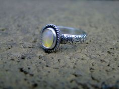Opal Ring, Ethiopian Opal Ring, Genuine Opal, Sterling Silver, Opal Stacker Ring, Floral Band, Genuine Opal Ring, Custom Opal Ring