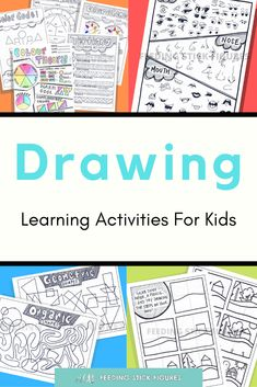 Printable #Drawing Practice Sheets for Kids - Easy #Colouring Activities for Kids. Simple and super fun directed drawing pages for children and beginners. @FeedingStickFigures shares simple art lesson and project ideas, fun worksheets, colouring sheets, and #printables for kids to do at home. Easy home activities for kids | Arts and crafts | #ColouringPages | Art development Art Projects For Teens, School Art Projects, Project Ideas, Art For Kids, Printable Activities For Kids, Kids Learning Activities, Primary School Art, Art School, Colouring Sheets