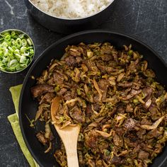 We stir-fry the mushrooms and cabbage together over high heat to help streamline the cooking process.
