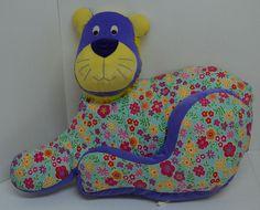 """Pier 1 Imports Floral Lion Cat Plush Pillow Purple Decorative Stuffed 23""""x17"""" #Pier1Imports"""