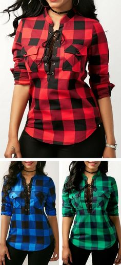 Curved Plaid Print Lace Up Front Blouse for Women, free shipping worldwide at Rosewe.com.