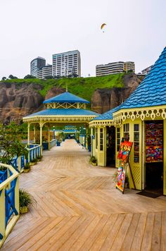 Dock Shops, Miraflores, Lima, Peru. Miraflores is a district of the Lima Province known for its shopping areas, gardens, flower-filled parks and beaches.