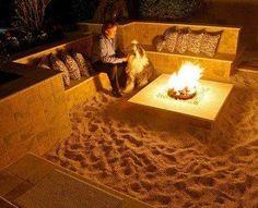 "backyard with sand  | Susan Miller – ""A mini beach as a backyard fire pit.I definitely ..."