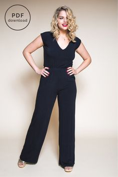 A chic and comfortable knit jumpsuit pattern AND knit maxi dress pattern. Easy to make sewing pattern & wardobe staple. Romper Pattern, Jumpsuit Pattern, Swimsuit Pattern, Jacket Pattern, Maxi Dress Sewing Pattern, Pattern Trousers, Kaftan Pattern, Pattern Draping, Top Pattern