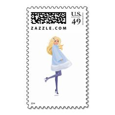 Barbie with a  Blue  Winter Coat Postage. This great stamp design is available for customization or ready to buy as is. Of course, it can be sent through standard U.S. Mail. Just click the image to make your own!