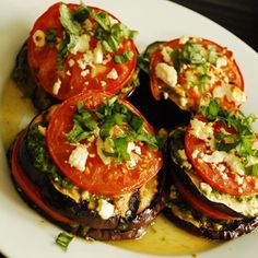A beautiful, delicious and healthy vegetable side dish recipe, this Grilled Eggplant with Tomatoes and Feta is a real treat. It makes a great vegetarian lunch or dinner, or goes well paired with some roasted chicken or grilled steak. Vegetarian Side Dishes, Vegetarian Lunch, Vegetarian Recipes, Healthy Recipes, Delicious Recipes, Vegetable Side Dishes, Vegetable Recipes, Real Food Recipes, Cooking Recipes
