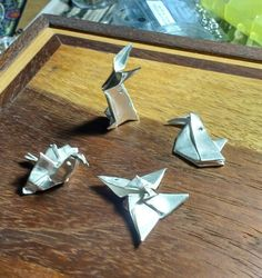 Tiny fine silver origami charms