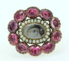A Magnificent Georgian 5ct Pink Topaz & Pearl Cluster Eye Ring Circa 1800's