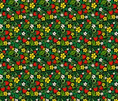 Strawberry hohloma fabric by art_of_sun on Spoonflower - custom fabric