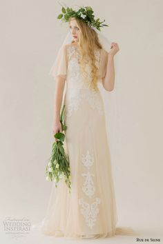 rue de seine wedding dress 2015 bridal corded lace boat neckline cascading sleeves nude fit flare gown colette