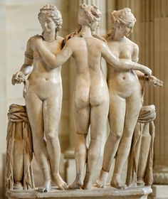 """ancientart: """" Roman sculpture: The Three Graces, 2nd Century AD, currently located in the Louvre, France. """""""