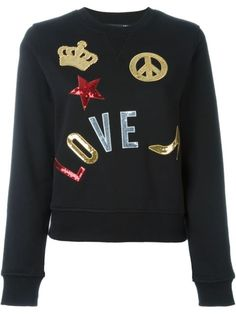 LOVE MOSCHINO multi patch sweatshirt. #lovemoschino #cloth #sweatshirt