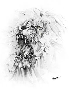 incredible lion illustration by Alexis Marcou for Nike...