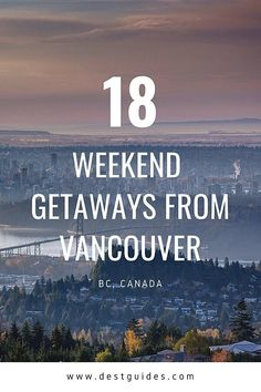 Need some weekend getaway ideas from Vancouver? You'll love these 18 weekend getaways from Vancouver when you need a vacation! Local and tourist favourites include places like Kelowna, Victoria, Tofino and more in British Columbia. Click through for more ideas and details on a short weekend trip from Vancouver, including what to see and do in each Canada travel destination! | Vancouver weekend trip | Vancouver vacation | Canada vacations | Canada trips | #BritishColumbia #Vancouver… Travel Advice, Travel Guides, Travel Tips, Travel Articles, Canada Destinations, Amazing Destinations, Romantic Destinations, Vancouver Vacation, Vancouver Travel