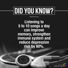 psychology says, music helps to strengthen your memory, immune system and reduce depression risk by 80 percent. True Interesting Facts, Interesting Facts About World, Intresting Facts, Amazing Science Facts, Some Amazing Facts, Psychology Fun Facts, Psychology Says, Psychology Quotes, Cognitive Psychology