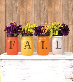 Re-use your mason jars and create beautiful Fall home Decor// Autumn // Fall Center piece // Fall projects