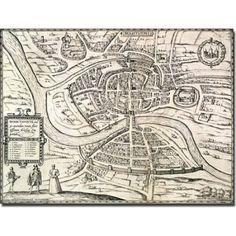 Trademark Art 'Map of Bristol, 1581' Canvas Art by Braun, Hogenberg, Size: 35 x 47, Multicolor