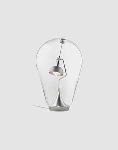 269€ Candeeiro de mesa em vidro com base em aço   Entre Design
