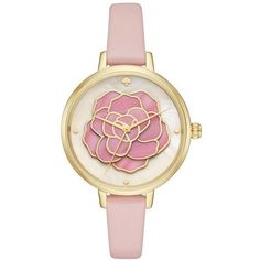 Women's Kate Spade New York 'Rose' Leather Strap Watch, 34Mm (705 BRL) ❤ liked on Polyvore featuring jewelry, watches, golden jewellery, kate spade watches, golden watches, rose watches and leather strap watches