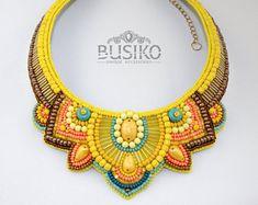 Ukrainian women necklace yellow, turquoise, orange color by BusikoUA on Etsy Folk Embroidery, Beaded Embroidery, Embroidery Patterns, Beaded Jewelry, Beaded Necklace, Bib Necklaces, Gothic Jewelry, Locket Necklace, Necklace Set