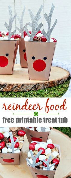 Reindeer Food Treat Tubs - What a great idea for Christmas crafts, party gifts, and an easy recipe all rolled into one! Kids will love this for party decoration and fun treat.