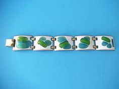 Beautiful 1960's Kay Denning Signed Color Block Enamel on Copper Bracelet (05/05/2013)