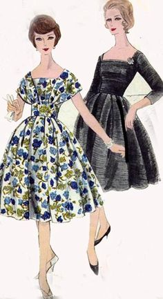 1950s Vintage Sewing Pattern Vogue 9794 ROCKABILLY Shawl collar Cocktail Dress with Fitted Midriff Size 14 Bust 34 UNCUT