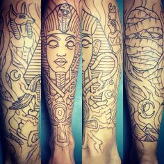 Unfinished Egyptian themed sleeve by Romeo Lacoste