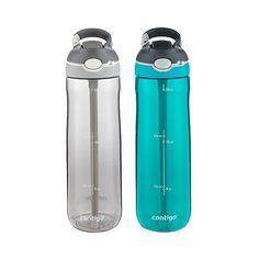 Contigo Autospout Straw Ashland Water Bottle - Set of 2 - Scuba & Grey, Scuba Opaque Cute Water Bottles, Glass Water Bottle, Drink More Water, Teal Colors, Travel Mug, Drinking, Mugs, Grey, Accessories