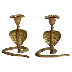 Brass Cobra Candlesticks, Pair #huntersalley