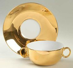 Flat Cream Soup Bowl & Saucer Set in the Lustre-Gold pattern by Royal Worcester