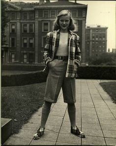 Circa 1940's Collegiate Chic.  Check out the shoes!