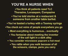 YOU know you are a nurse when. - Nursing Humor / Share Jokes- For you Debbie J. Nursing Tips, Nursing Notes, Funny Nursing, Nursing Career, Nursing Articles, Nursing Board, Nursing Profession, Nurse Ratchet, Nurse Jokes