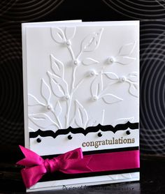 Cuttlebug Leafy Branch embossing folder - black and white border with hot pink ribbon - bjl