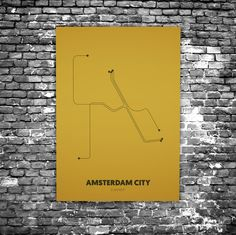 Amsterdam City C6 - Acrylic Glass Art Subway Maps - Flexa kleur van het jaar 2016 - Okergoud (Metrokaart, Acrylglas)