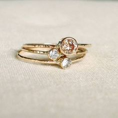 MARYJOHN Delicate 14K Gold Birthstone Stack Rings - Mother and ...