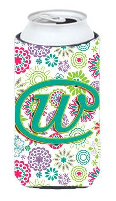 Letter W Flowers Pink Teal Green Initial Tall Boy Beverage Insulator Hugger CJ2011-WTBC