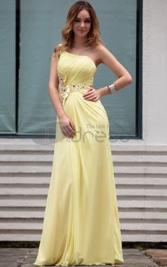 Hot Sale Modern One Shoulder Yellow With Ruffle Arabic Party Dresses For Women