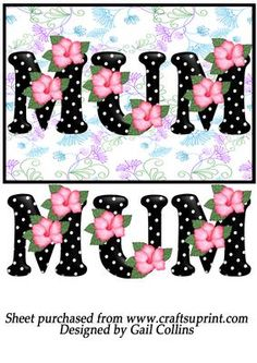 floral mum on Craftsuprint designed by Gail Collins - a ptetty card front with the word mum on. can be used for any occasion. - Now available for download!