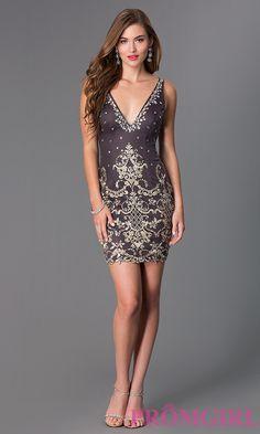 f86e9a083dd3 Image of short sleeveless v-neck lace embellished dress Detail Image 1  Jovani Dresses