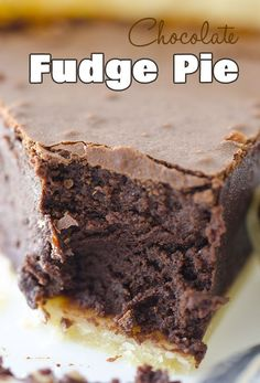 Chocolate Fudge Pie Recipe ~ Homemade fudge pie with rich and dense, moist chocolate filling.
