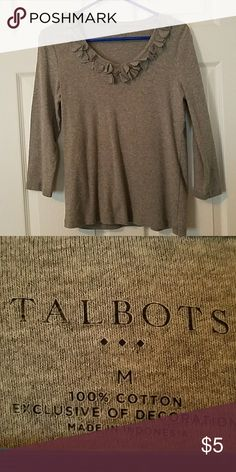 Embellished Long Sleeved Tee Simple but dressy embellished long sleeved t-shirt - gray Talbots Tops Tees - Long Sleeve