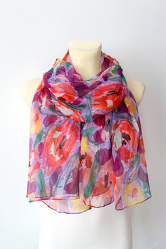 Silk Floral Scarf - Multicolor Fashion Shawl - Unique Fabric Scarf - Chiffon Scarf - Geometric Scarf - Boho  Women Accessories -Gift For her