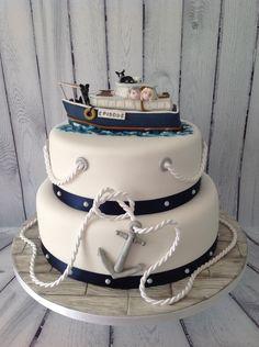 Hand made boat cake topper Nautical Birthday Cakes, Nautical Wedding Cakes, Nautical Cake, Cake Wedding, Ocean Cakes, Beach Cakes, Fondant Cakes, Cupcake Cakes, Cupcakes
