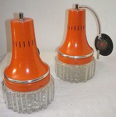 Vintage Italian Space Age Sconces Orange Applique Light Fixtures Sputnik Lamp 70