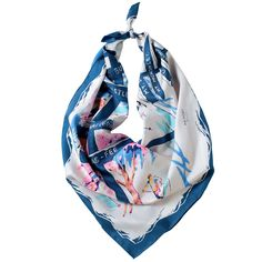 「WINTER VACATION」BLUE silk scarf 【the PORT by marca】 #silk_scarf #Skiing #Snowy_mountains #art #illustration #POP #hand_printed_textiles #made_in_japan #yokohama #スカーフ #スキー #雪山 #シルクスカーフ #手捺染 #日本製 #横浜 #レトロ